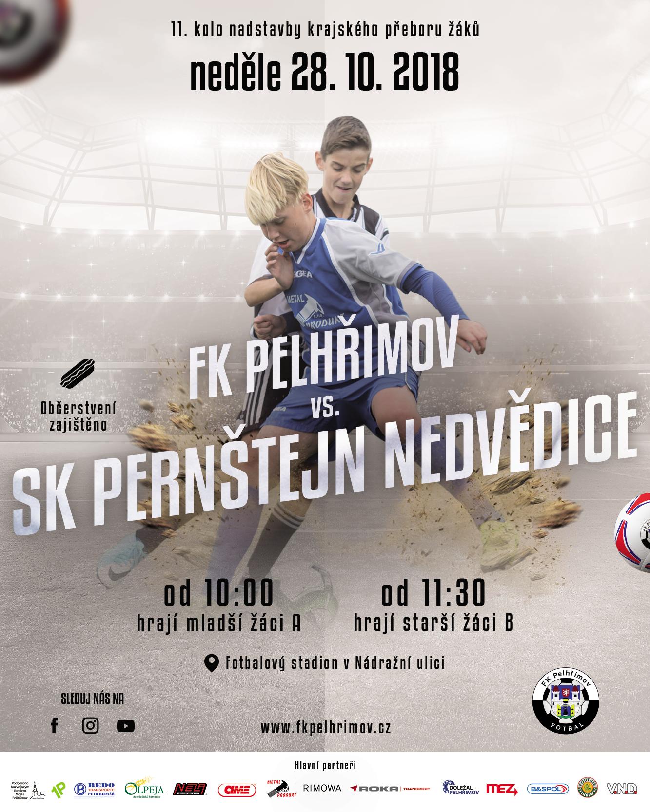 Pozvánka na utkání FK Pelhřimov – SK Pernštejn Nedvědice (2018-10-28, krajský přebor žáků)