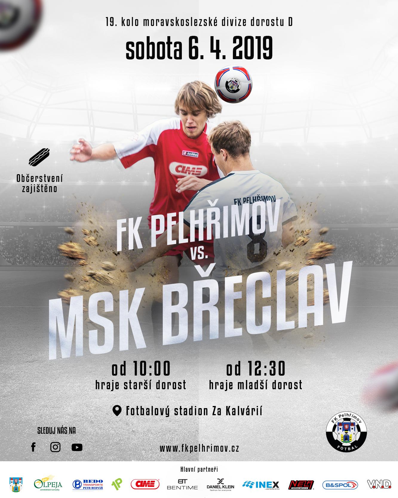 Plakát na utkání FK Pelhřimov – MSK Břeclav (2019-04-06, moravskoslezská divize dorostu sk. D)
