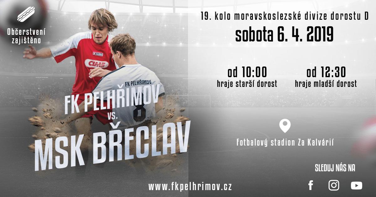 Pozvánka na utkání FK Pelhřimov – MSK Břeclav (2019-04-06, moravskoslezská divize dorostu sk. D)